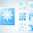 Vector Stamps with snowflakes — Stock Vector