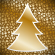 Gold Christmas tree on background with christmas symbols — Stock Vector