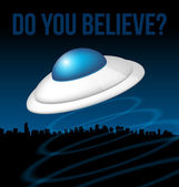 Ufo über stadt abbildung — Stockvektor