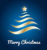 árbol de navidad oro elegante con brillo sobre fondo azul — Vector de stock