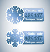 Winter sale labels with snowflake — Stock Vector