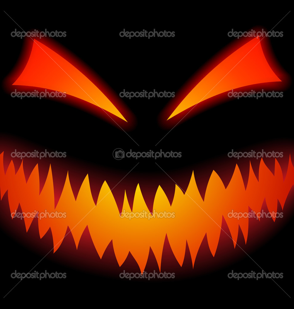 Halloween Scary Face on black — Stock Vector #14835529