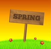 Panneau bois de printemps — Vecteur
