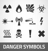 Símbolos de peligro — Vector de stock