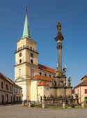 Rokycany church and column — Stock Photo
