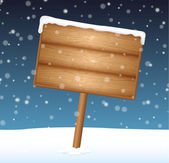 Sign on snow meadow with falling snow — Stock Vector