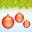 Red Christmas baubles — Stock Vector