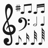 Music notes set — Vettoriale Stock