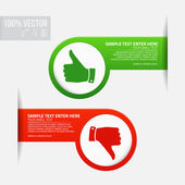 Labels with thumb up and thumb down — Stock Vector