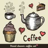 Hand drawn coffee and cakes — Stock Vector