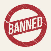 Red Banned sign — Stock Vector