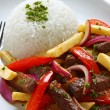 Lomo saltado, peruvian cuisine — Stock Photo