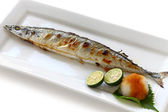 Broiled pacific saury with salt — Stock Photo