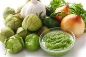 Tomatillo salsa verde ingredients — Stock Photo