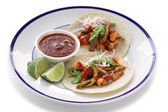 Pork and cactus tacos — Stock Photo
