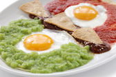 Huevos divorciados, mexican breakfast — Stock Photo