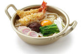 Nabeyaki udon, japanese hot pot noodles — Stock Photo
