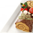 Stock Photo: Homemade buche de noel