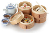 Yumcha, dim sum in bamboo steamer — Stock Photo