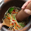 Making of green papaya salad, som tam, thai food — Stock Photo