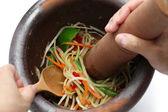 Making of green papaya salad, som tam, thai food — Stock Photo