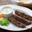 Ground lamb kebab with flat bread — Stock Photo