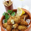 Salt cod (bacalhau,bacalao) fritters, croquettes — Stock Photo #33596383
