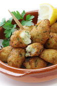 Salt cod (bacalhau,bacalao) fritters, croquettes — Stock Photo