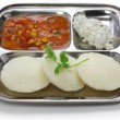 Постер, плакат: South indian breakfast on stainless steel plate