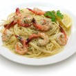 Pasta with shrimp scampi — Stock Photo