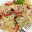 Pasta with shrimp scampi — Foto Stock