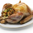 Stock Photo: Roast turkey with stuffing