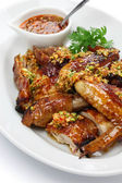 Boiling oil scalded young chicken, chinese cuisine — Stock Photo