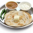 Plain paratha with curry and yogurt — Stock Photo