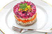 Russian traditional salad, dressed herring under fur coat — Stock Photo