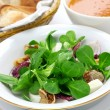 Foto de Stock  : Fresh salad with bread and soup