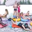 People in Swimming Suit on a Frozen Lake — Stock Photo