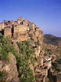 View on Hajjarrah,Yemen, at sunset — Stock Photo