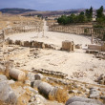 Oval forum of Jerash — Stock Photo