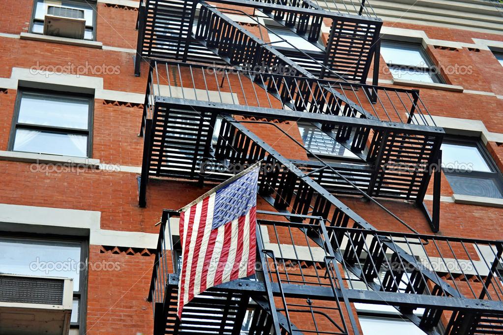 drapeau am ricain et emercency escaliers photographie jehoede 30921503. Black Bedroom Furniture Sets. Home Design Ideas