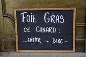 Adboard for foie gras — Stock Photo