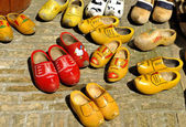 Colored Dutch wooden shoes — Stock Photo