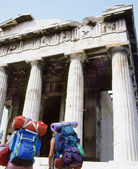 Backpackers at Acropolis, Athens — Stock Photo