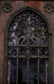 Old decorated wooden door — Stock Photo