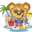 Beach Teddy Bear Cartoon Character — Stock Vector
