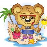 Beach Teddy Bear Cartoon Character — Stock Vector