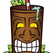 Tiki God Wooden Cup Cartoon — Stock Vector