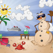 Sand Snowman Cartoon Character on a Tropical Beach Vacation in Paradise - Stock Vector