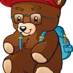 Back To School Student Teddy Bear Cartoon Character — Stock Vector