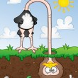 Ostrich With His Head In The Ground Cartoon Character — Stock Vector